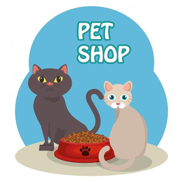 かわいい猫の食べ物 無料ベクター