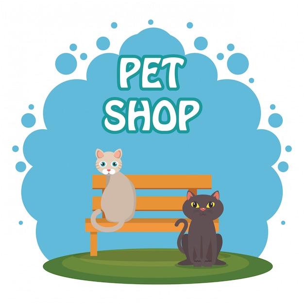 Милые кошки в парке Бесплатные векторы