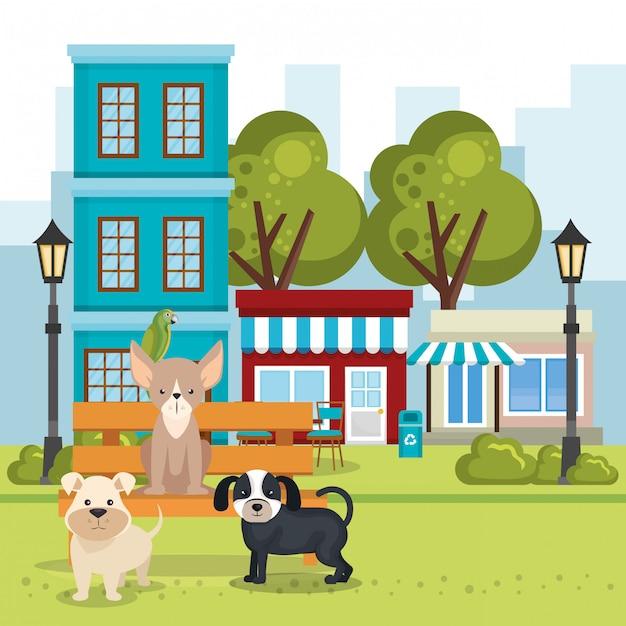 公園のシーンでかわいい犬 無料ベクター