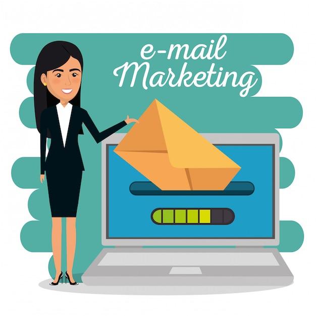 Коммерсантка с значками маркетинга электронной почты Бесплатные векторы