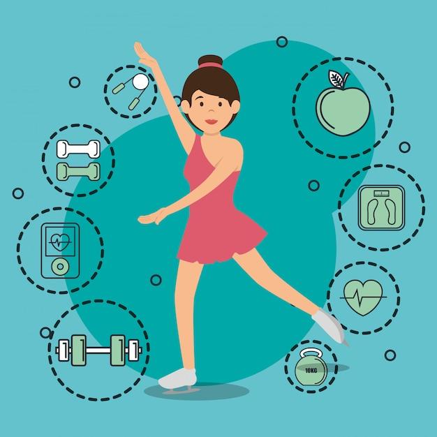 スポーツアイコンとダンスの女性 無料ベクター