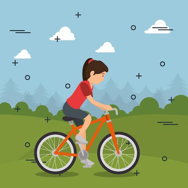 スポーツのアイコンと自転車の女性 無料ベクター
