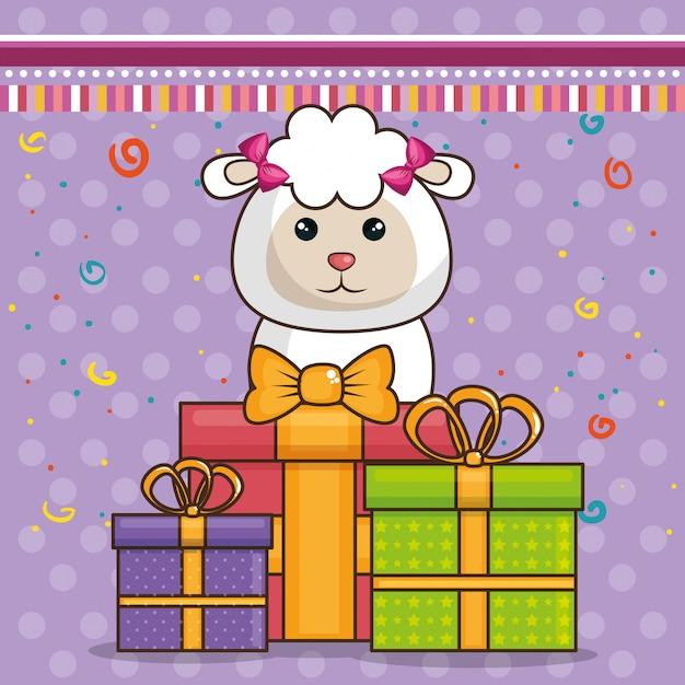 かわいい羊とお誕生日おめでとうカード 無料ベクター