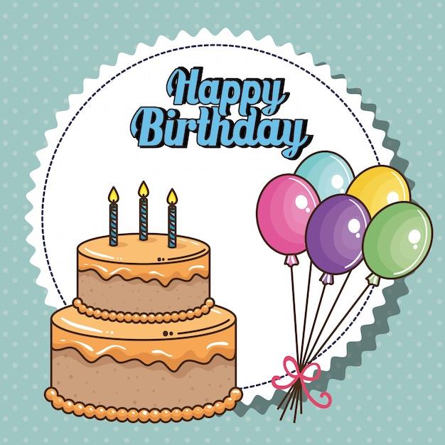 甘いケーキの誕生日カード 無料ベクター