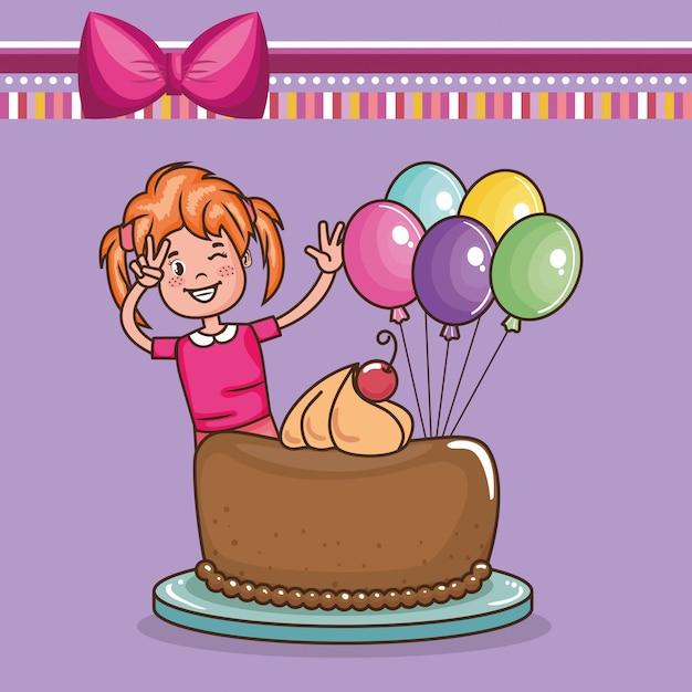 小さな女の子の誕生日カード 無料ベクター