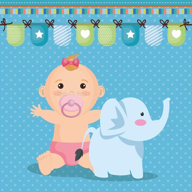 Открытка на празднование появления ребенка с маленькой девочкой Бесплатные векторы