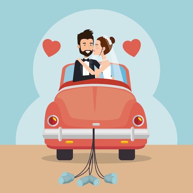 車のアバターのキャラクターとちょうど結婚されていたカップル 無料ベクター