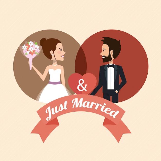心のアバター文字とちょうど結婚されていたカップル 無料ベクター