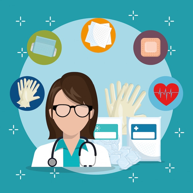 Доктор с иконами медицинской службы Бесплатные векторы