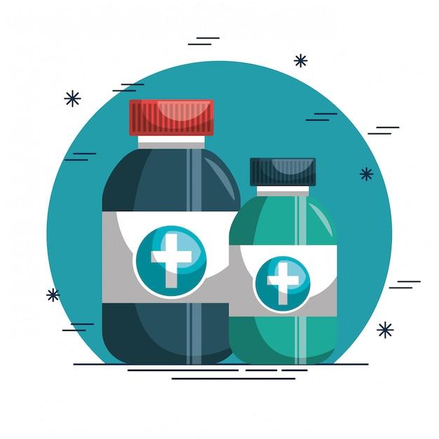 Бутылка с наркотиками медицинский значок Бесплатные векторы