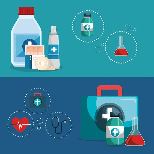 Медицинские услуги набор иконок Бесплатные векторы