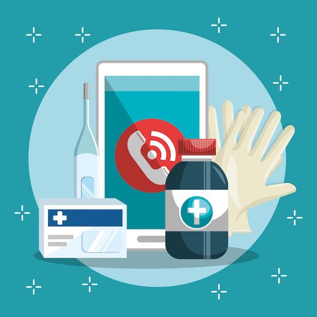 スマートフォンとオンラインでの医療サービス 無料ベクター