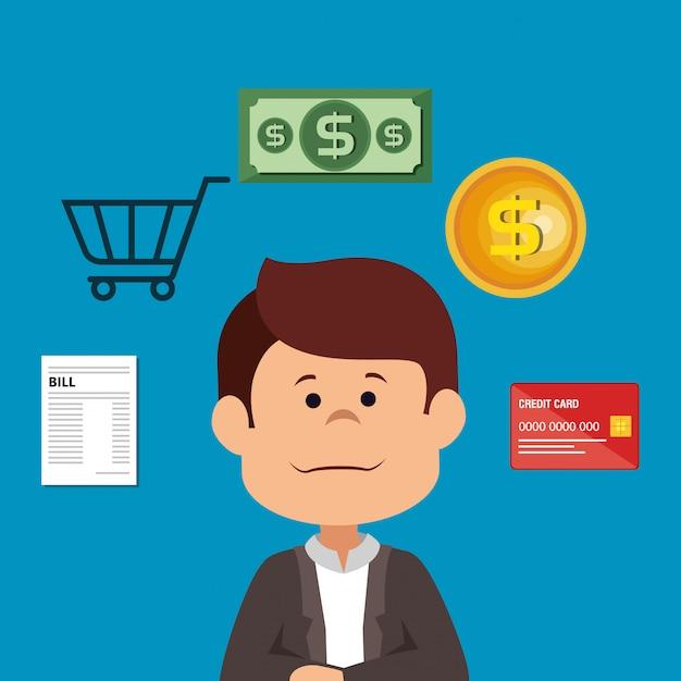 Бизнесмен с иконками сэкономить деньги Бесплатные векторы