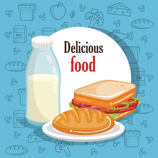 Вкусное меню быстрого питания Бесплатные векторы