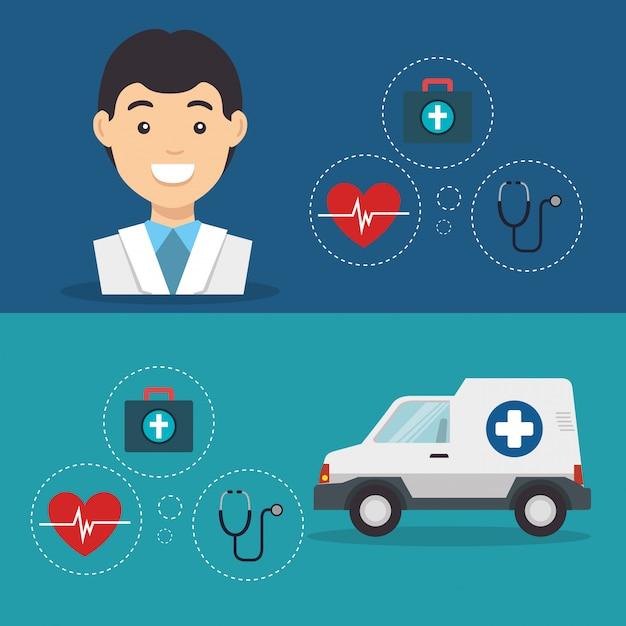 Мужчина доктор с иконами медицинских услуг Бесплатные векторы