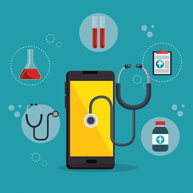 医療サービスアプリ付きスマートフォン 無料ベクター