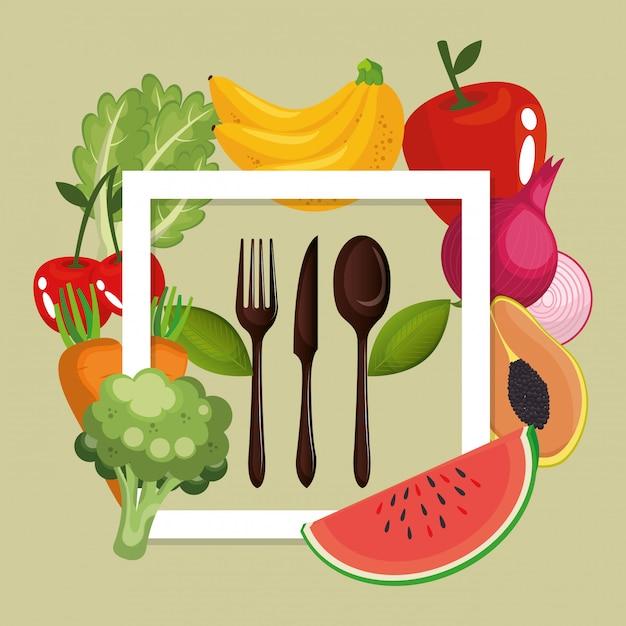 Фрукты и овощи здоровое питание Бесплатные векторы