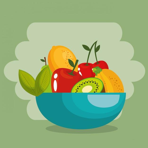 Свежие фрукты здоровое питание Бесплатные векторы