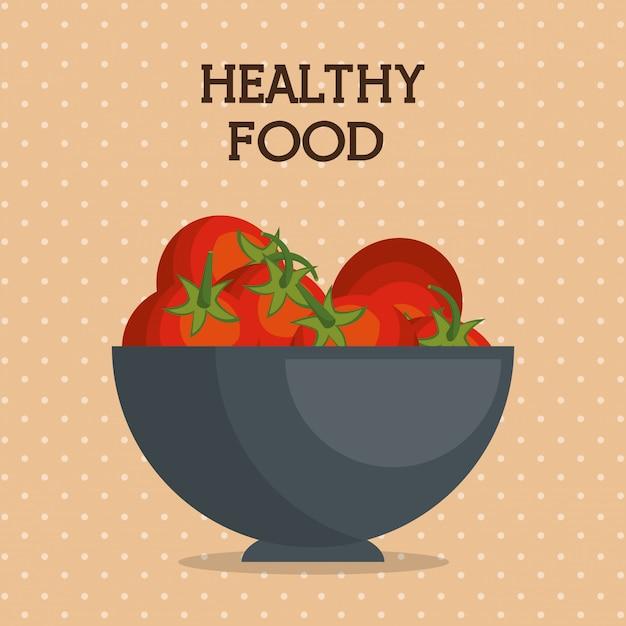 ボウルに新鮮なトマトの健康食品 無料ベクター