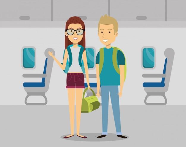 飛行機の中でカップル旅行者 無料ベクター