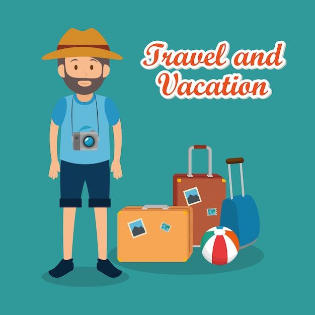 スーツケースの文字を持つ男の旅行者 無料ベクター