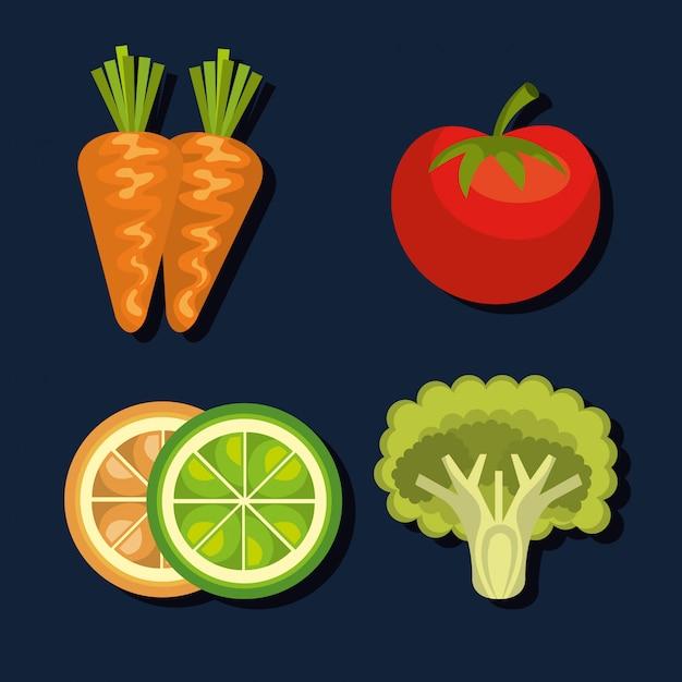 Здоровая пища Бесплатные векторы