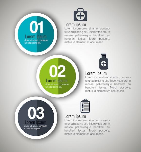 Медицинская инфографика с тремя шагами Бесплатные векторы