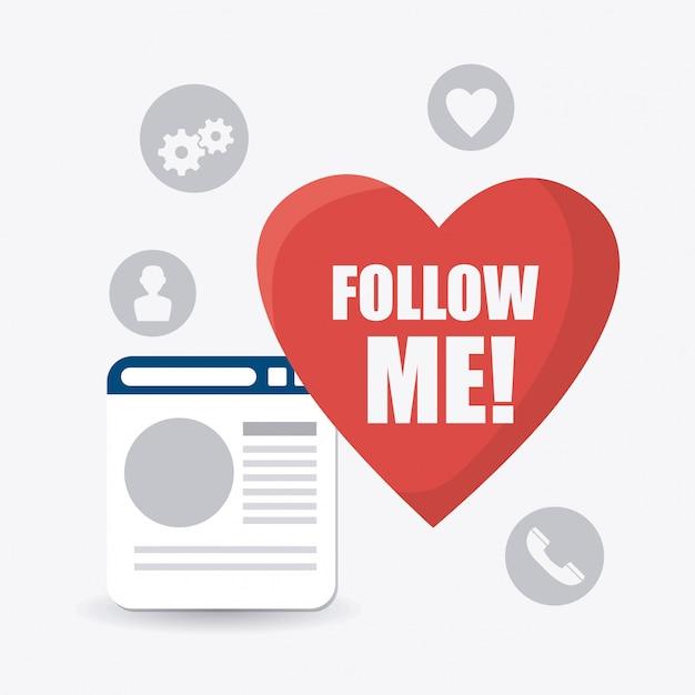 Следуй за мной дизайн социальной и бизнес темы Бесплатные векторы