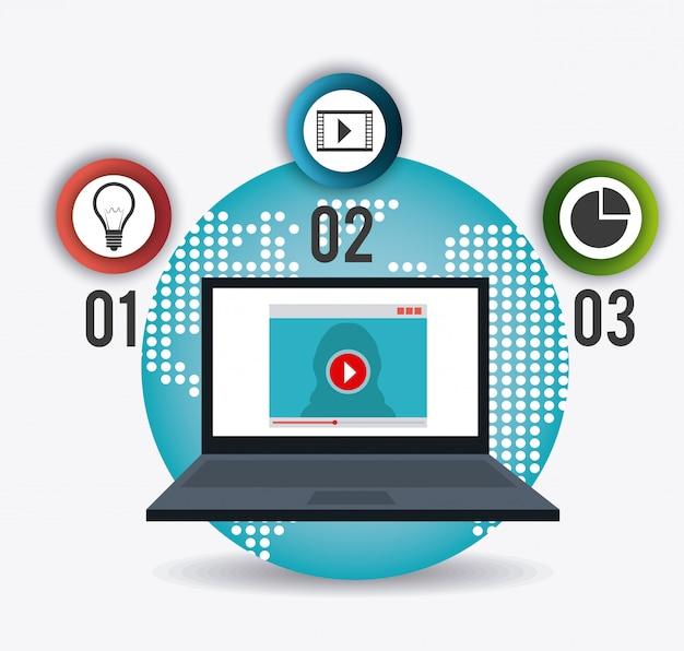 テクノロジー、インターネット、マルチメディア 無料ベクター
