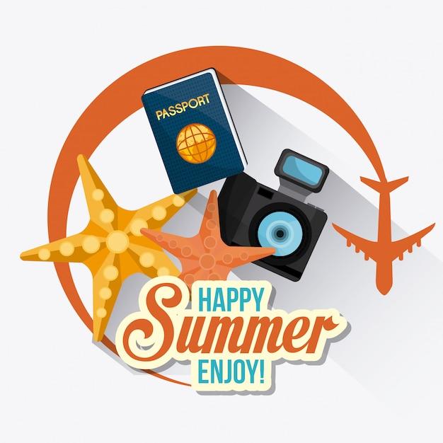 夏、休暇、旅行 無料ベクター