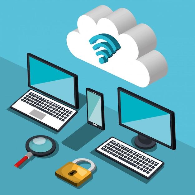 Иллюстрация облачных вычислений Бесплатные векторы