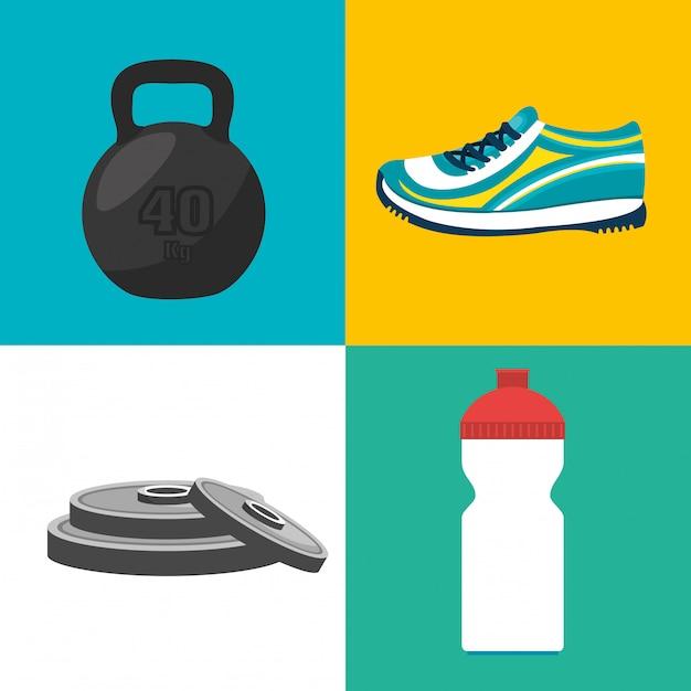 Спорт фитнес иллюстрация Бесплатные векторы