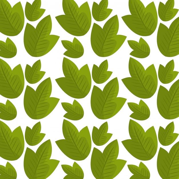 葉と葉の生態グラフィックのシームレスパターン 無料ベクター