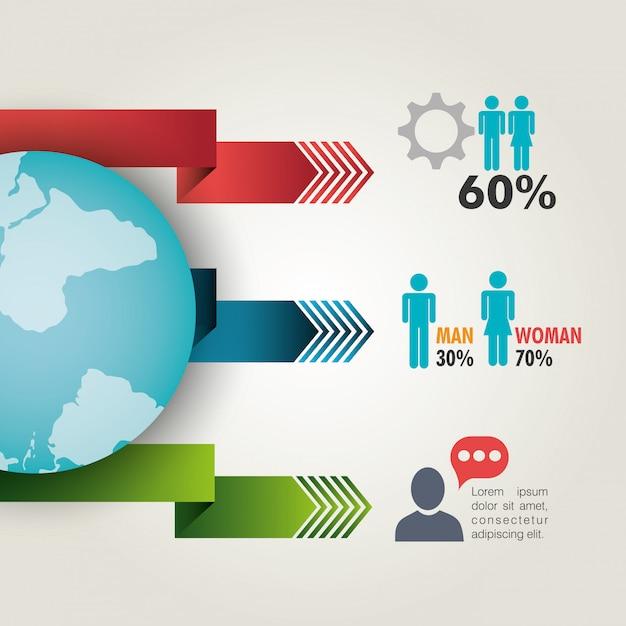 世界のつながりとビジネスのインフォグラフィック Premiumベクター