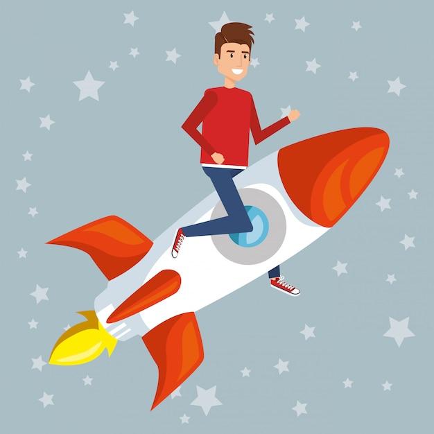 ロケットのキャラクターの若い男 無料ベクター