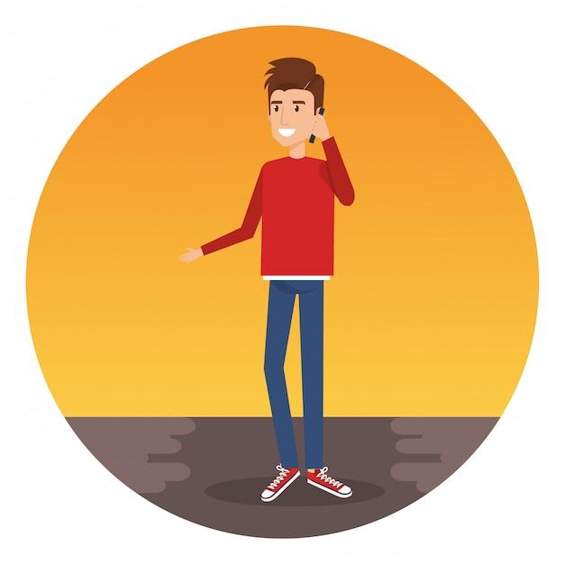 スマートフォンのキャラクターを呼び出す若い男 無料ベクター