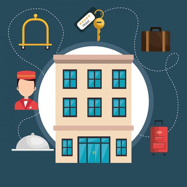 Гостиничные услуги набор иконок Бесплатные векторы