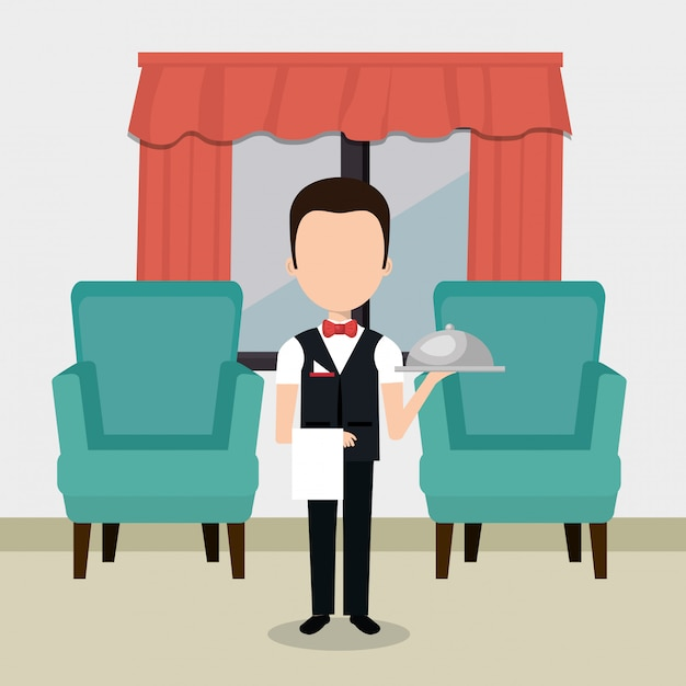 ホテルのキャラクターで働くウェイター 無料ベクター