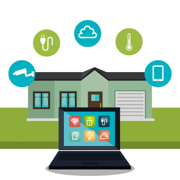 スマートホーム技術を制御するラップトップ 無料ベクター