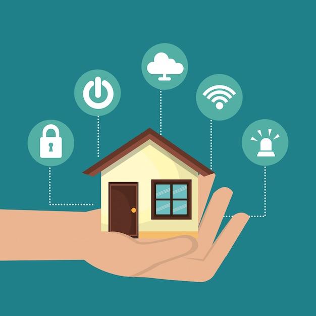 Умный дом технологии установить значок Бесплатные векторы