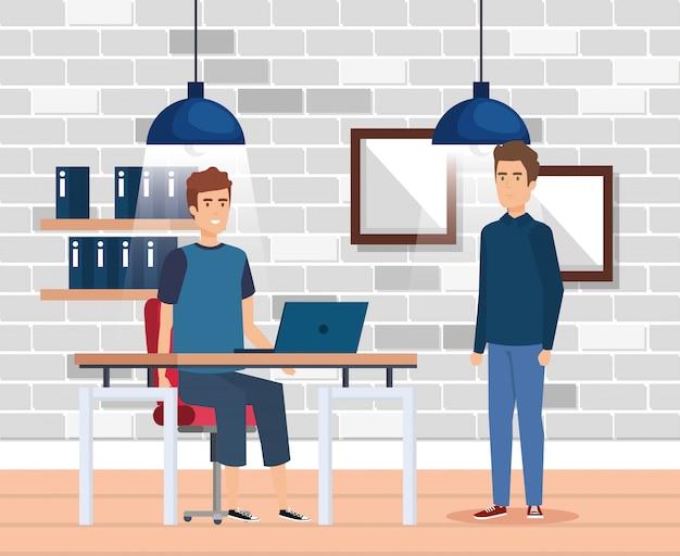 Группа мужчин на рабочем месте Бесплатные векторы