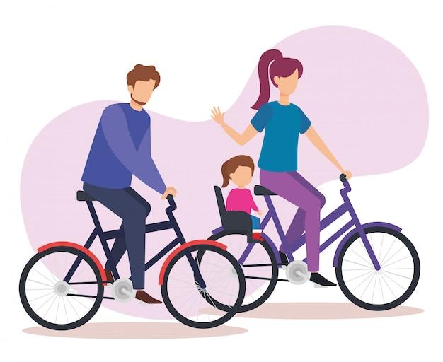 娘と自転車で親カップル 無料ベクター