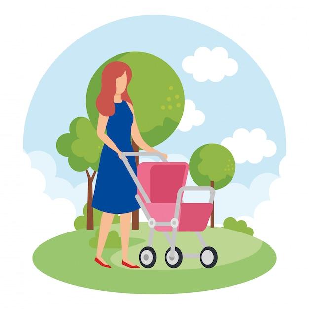 公園でカート赤ちゃんを持つ母 無料ベクター
