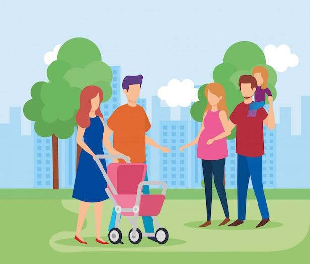 公園で娘と両親のカップル 無料ベクター