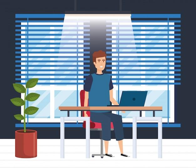 実業家と近代的なオフィス 無料ベクター