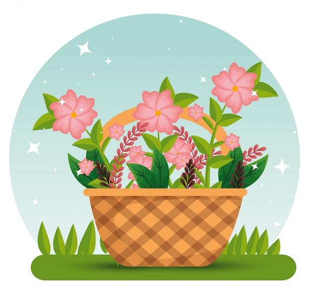 Цветы растения с ветвями листьев внутри корзины Бесплатные векторы
