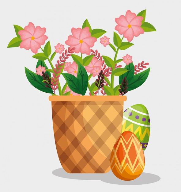 バスケットの中の花とイースターエッグの装飾 無料ベクター