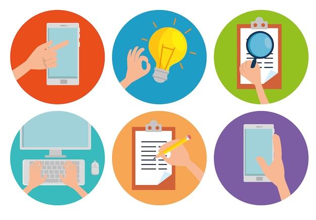 Установить план бизнес-информации и анализа стратегии Бесплатные векторы
