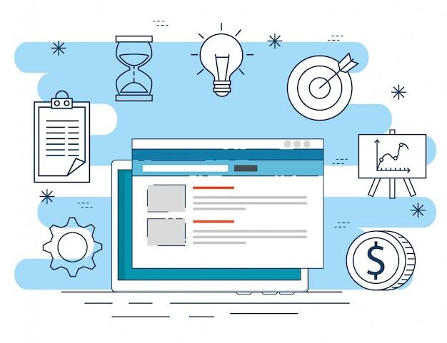ビジネスプラント戦略へのウェブサイトデータ 無料ベクター