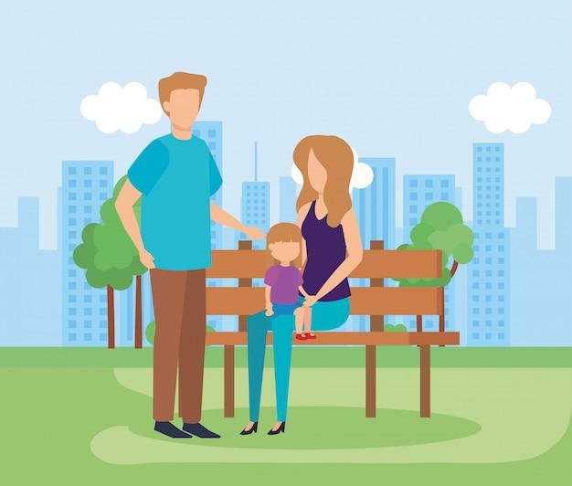 Родители с дочерью в парке Бесплатные векторы